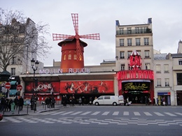 Moulin Rouge on Boulevard de Clichy Red Light District (Quartier Rouge) in Paris France