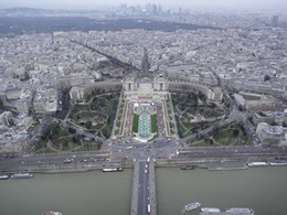 Looking north west at Jardins du Trocadéro and Palais de Chaillot on the other side of the river Seine. La Défense is on the horizon.