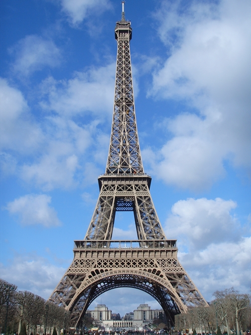 The Eiffel Tower on Champ de Mars in Paris France