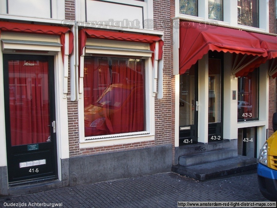 Oudezijds Achterburgwal 41 and 43, Amsterdam red light district (De Wallen / Walletjes / De Rosse Buurt). Copyright: George 2011
